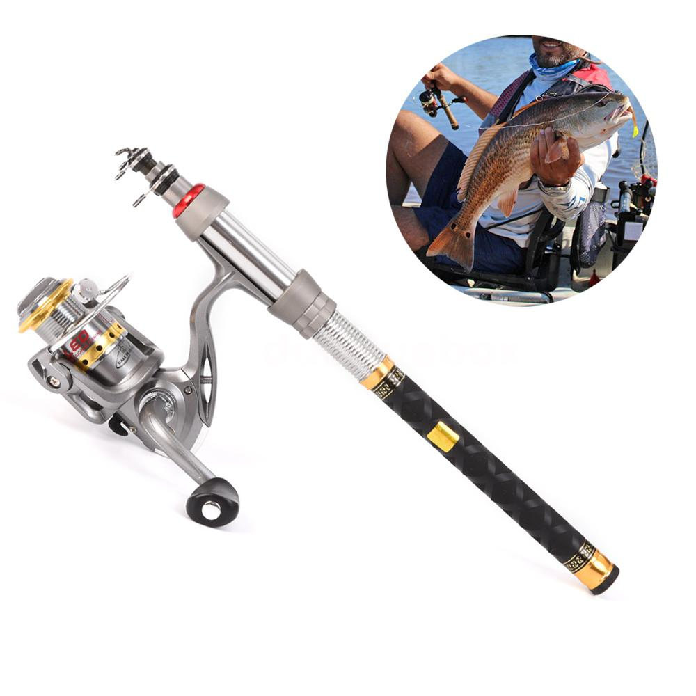 Telescopic spinning fishing rod reel combo kit gear for Fishing pole kit